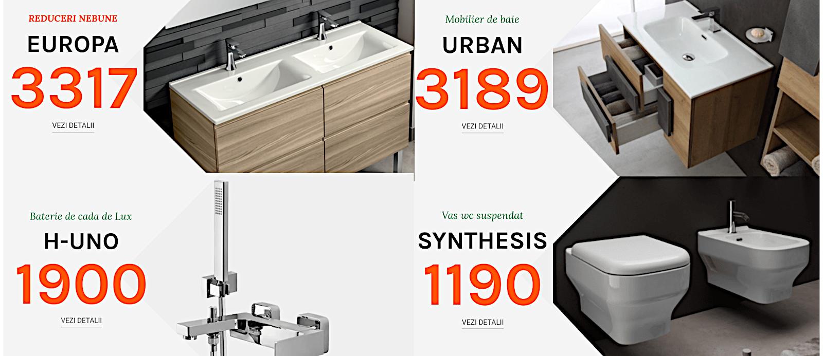 Obiecte sanitare si mobilier de baie modern inexpensiv