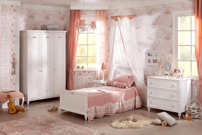 Set mobilier dormitor Romantica White inexpensiv
